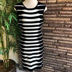 Calvin Klein Black & White Striped Knit Dress